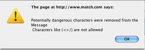 Potentially dangerous characters were removed from the Message Characters like * are not allowed